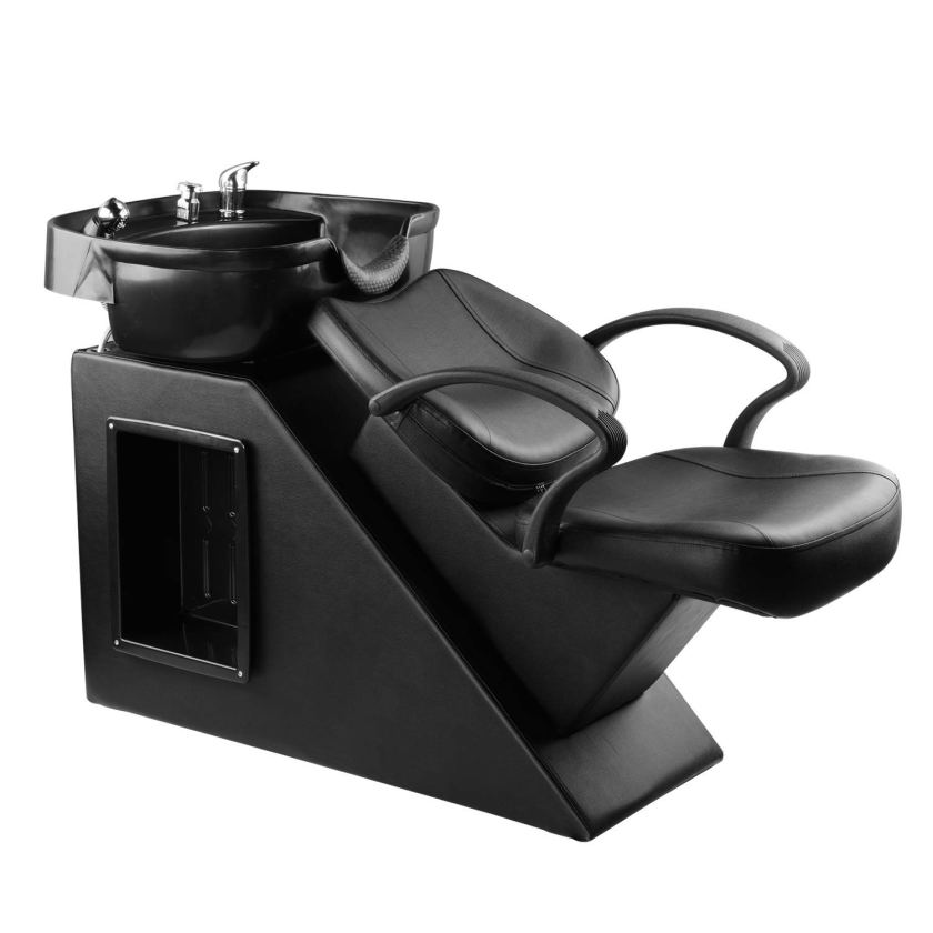 black shampoo chair and sink