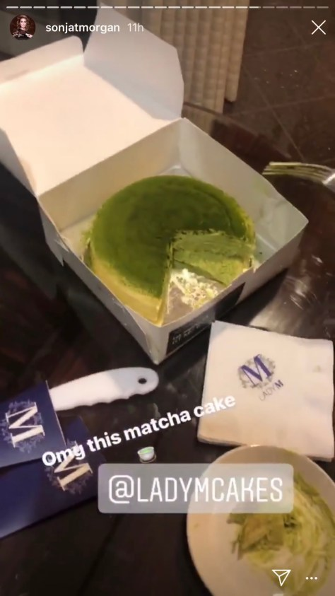Sonja Morgan enjoying a Lady M Cakes Matcha Cake in Los Angeles