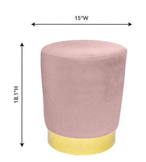 Blush Pink Velvet Ottoman seat for vanity