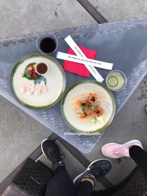 Sushi by the pool at Pagoda Bar at Yamashiro Hollywood