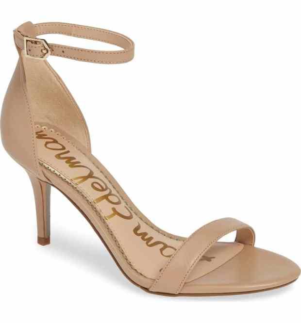 Sam Edelman Patti Ankle Strap Sandal in Classic Nude Leather