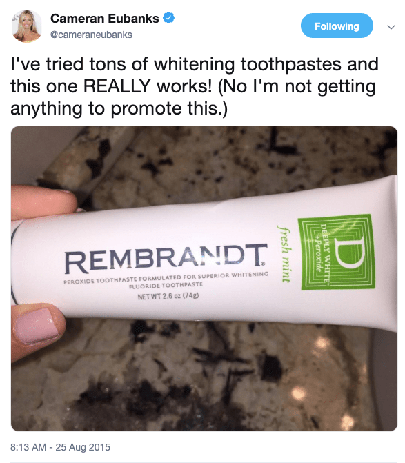 Cameran Eubanks Teeth Whitening Toothpaste on Twitter