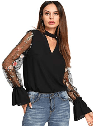 Floral Embroidered Mesh Bell Sleeved Black Top With Choker Neck Blouse