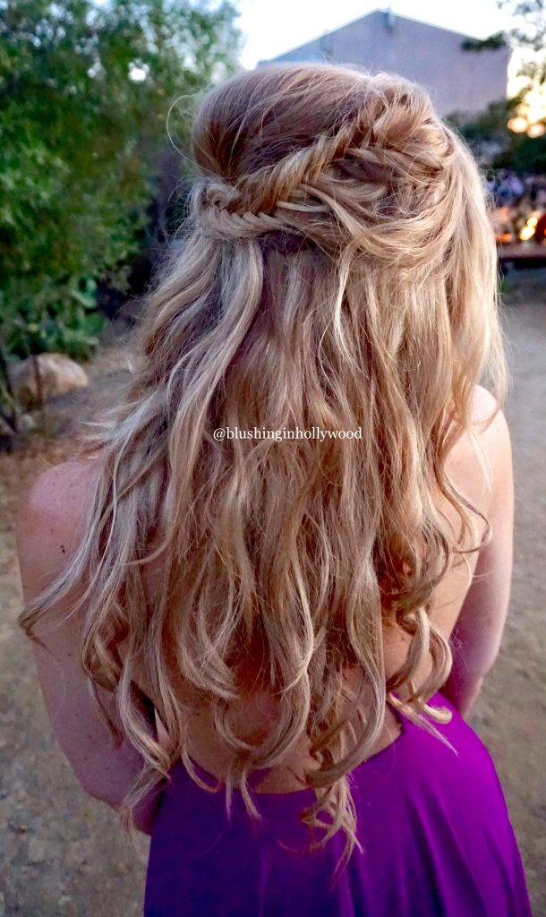 Half up Boho wedding hairstyle with fishtail braid and clip in hair extensions