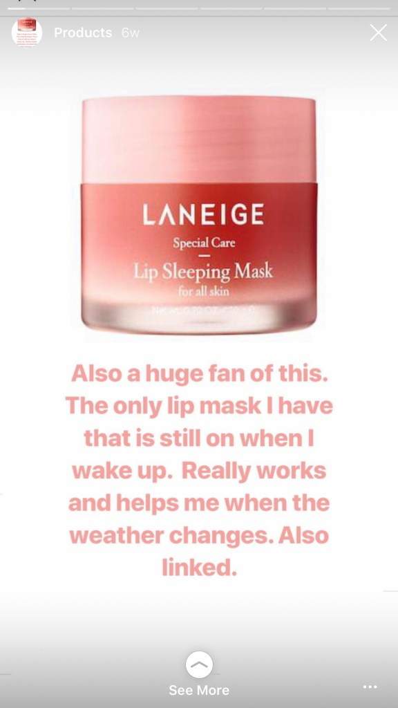 Naomie Olindo from Southern Charm loves Laneige Lip Sleeping Mask and says it stays on her lips all night. She posted this on her IG stories @naomie_olindo
