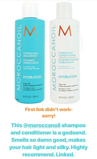 Naomie Olindo posted that she loves the Moroccan Oil Hydrating Shampoo and conditioner because they smell good and make your hair light and silky
