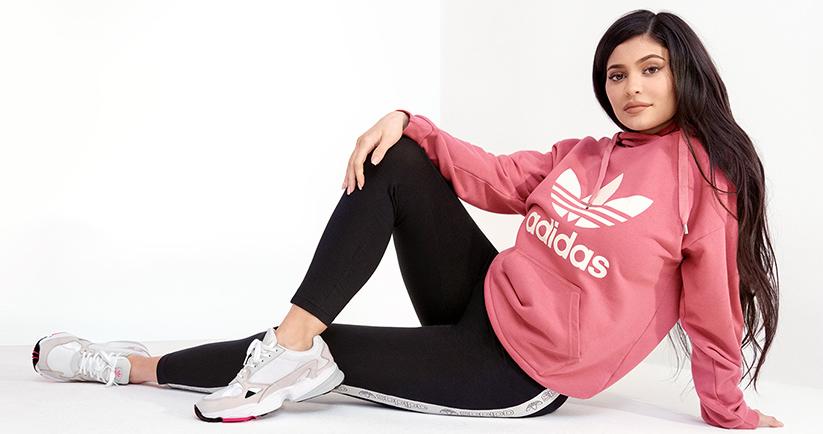 Kylie Jenner in Pink Adidas Trefoil Hoodie