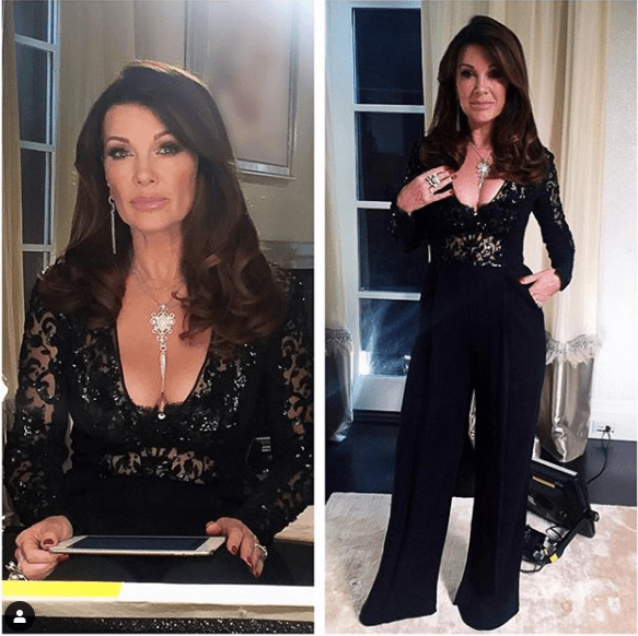 Lisa Vanderpump from Real Housewives of Beverly Hills in her black lace jump suit wearing her signature pink lipstick YSL 51 Rose Saharienne Photo: @patricktumey on Instagram