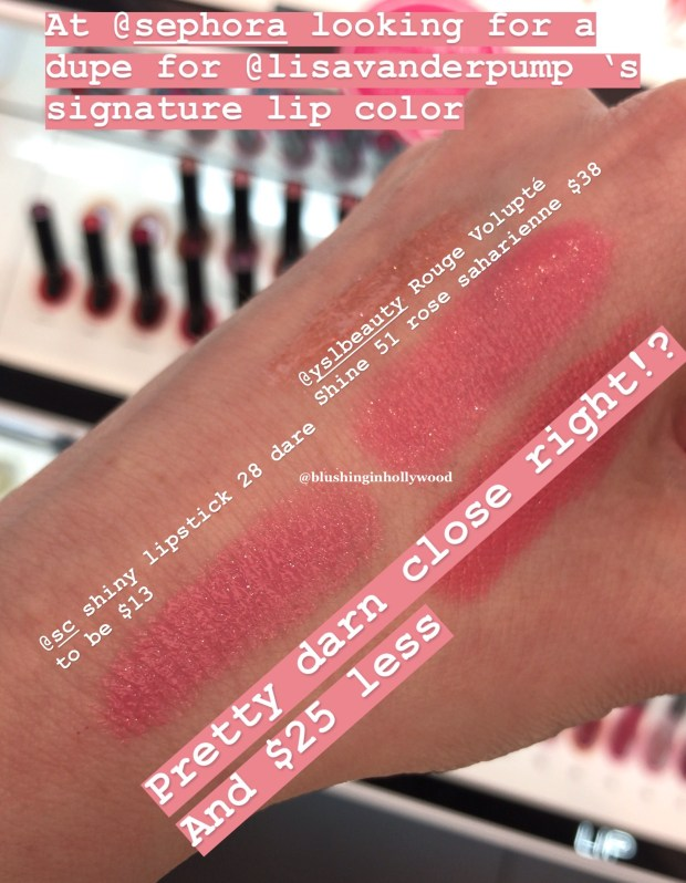 Swatches of Sephora Collection Rouge Lacquer Lipstick 28 Dare to Be and YSL Rouge Volupte Shine 51 Rose Saharienne
