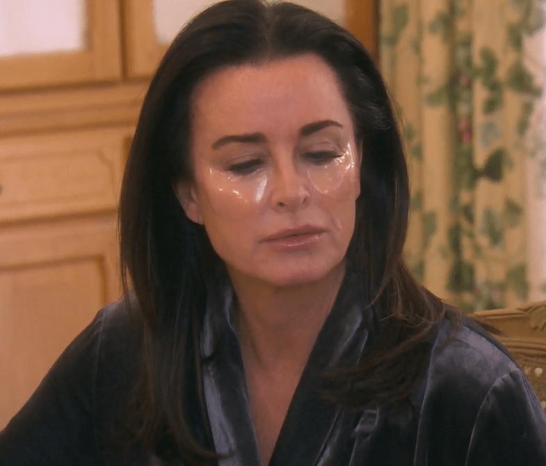 Kyle Richards wearing under eye patches on Real Housewives of Beverly Hills