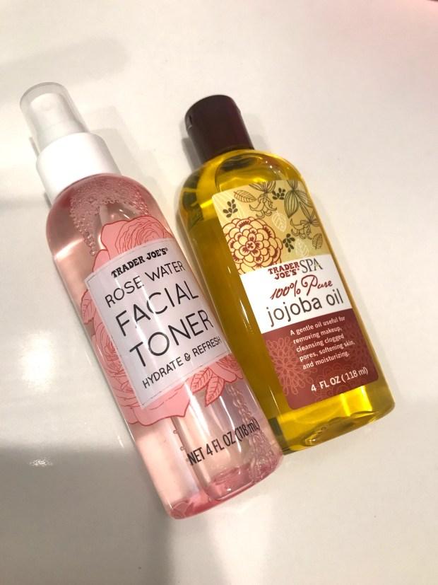 Trader Joe's Rose Water Facial Toner and Trader Joe's Jojoba Oil