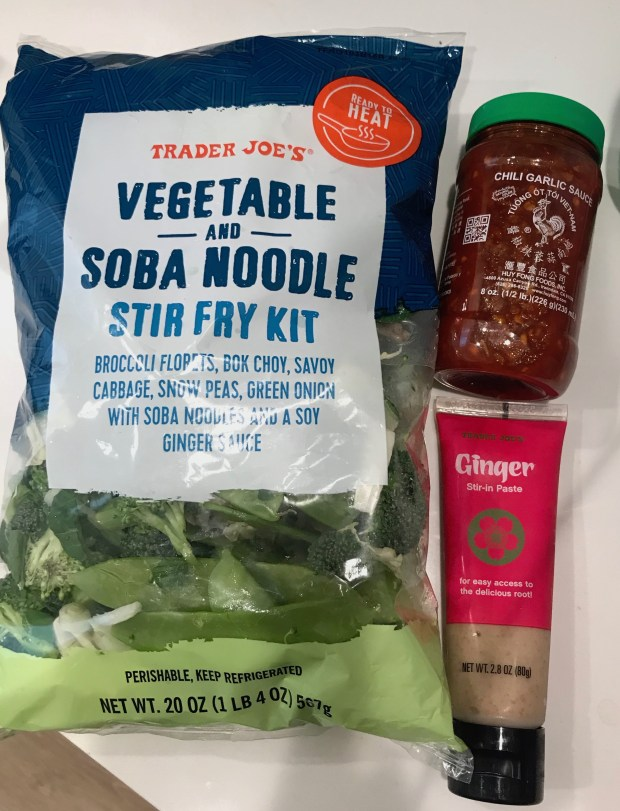 Trader Joe's Vegetable and Soba Noodle Stir Fry Kit with Chili Garlic Sauce and Trader Joe's Ginger Stir-in Paste