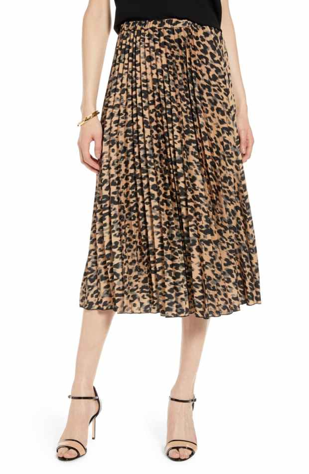Halogen Leopard Pleated Midi Skirt