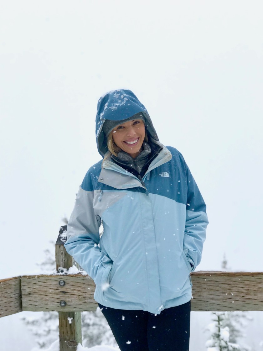 Lake Peyto white out- so much snow that you can't see the lake even though it's June! It can be super cold in Banff even in the summertime so it's important to layer up!