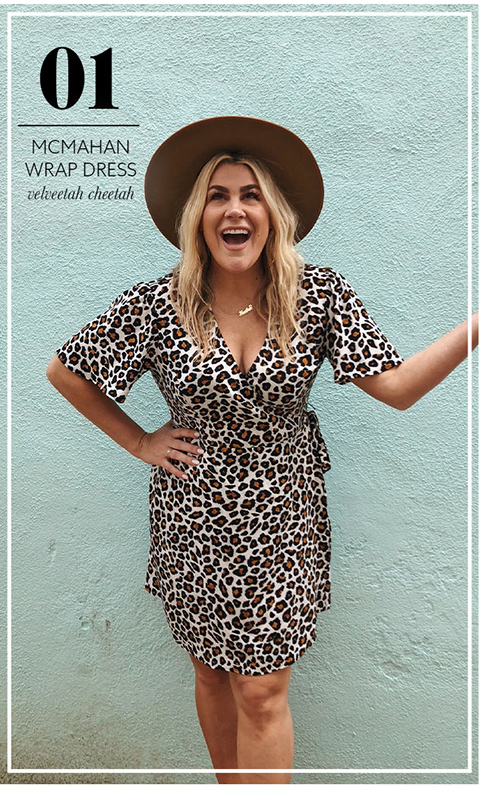 Heather McMahan wearing her Show Me Your Mumu McMahan Wrap Dress in Velveetah Cheetah