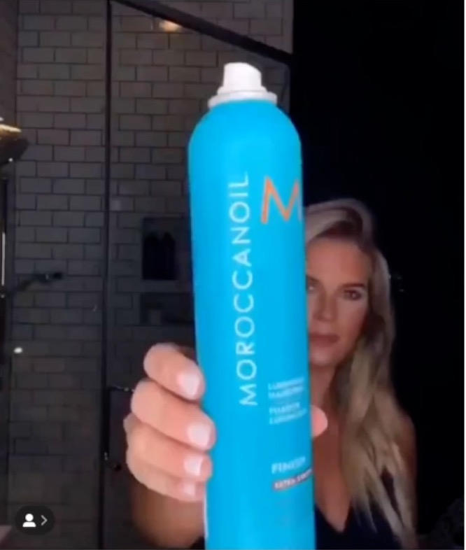Madison uses Moroccan Oil finishing hair spray