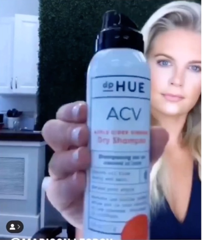 Madison Lecroy from Southern Charm using dpHue Apple Cider Vinegar Dry Shampoo