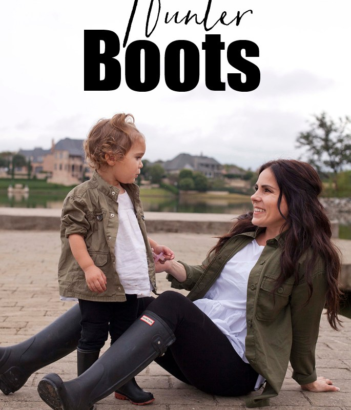 Black Hunter Boots, Army Green Jacket, White Peplum Top, Black Leggings