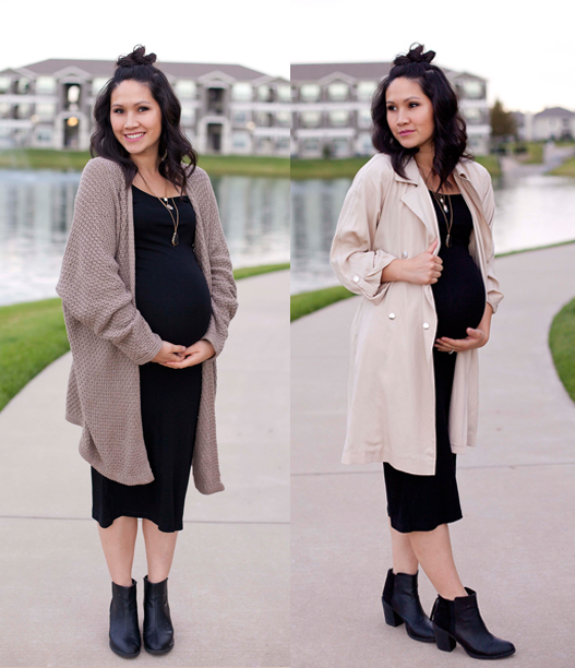 Black Dress, Cream Trench Coat, Neutral Slouchy Cardigan, Black Booties, Maternity Fashion, Pregnancy