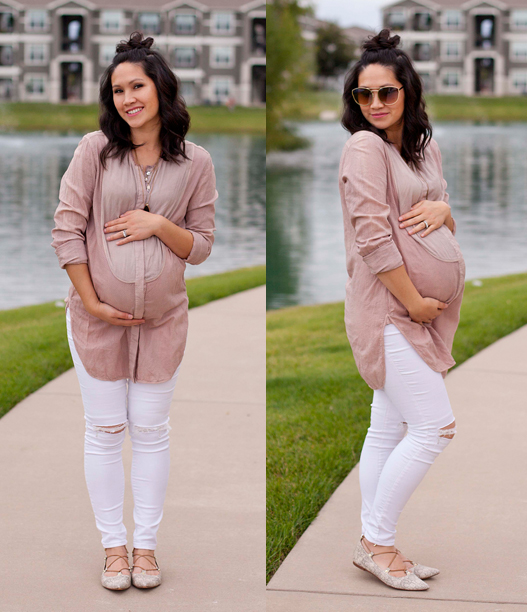 Blush Rose Blouse, White Distressed Denim, Maternity Fashion, Pregnancy