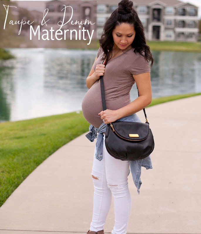 Maternity Outfit, Taupe Shirt and Booties, White Denim, Black Sneakers, Marc Jacob Bag
