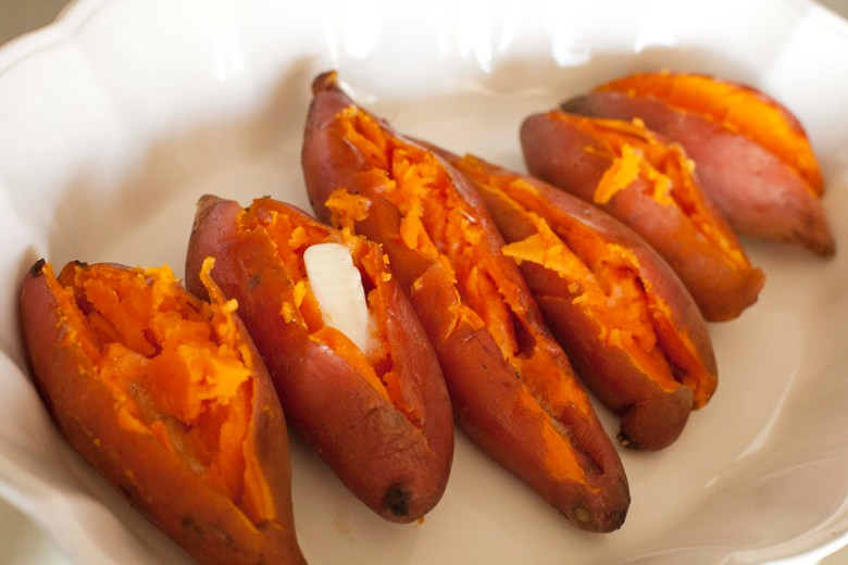 Simple oven roasted sweet potatoes