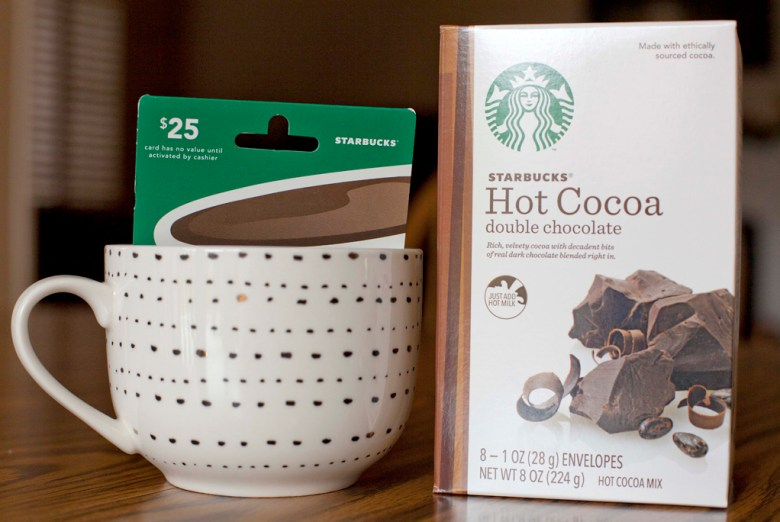 Hot chocolate, Starbucks, Target, mug, gift basket, tutorial, Christmas