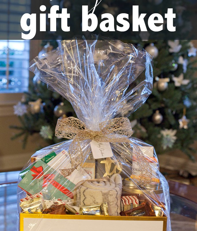 Christmas, gift basket, tutorial, Target, how to, gift