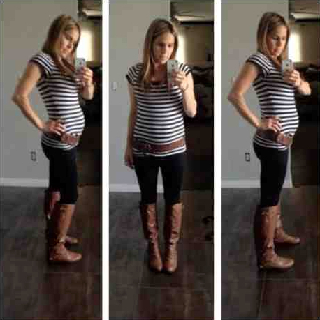 Maternity Outfit, Maternity Fashion, Pregnancy, Black leggings, Brown Boots, Stripe Shirt