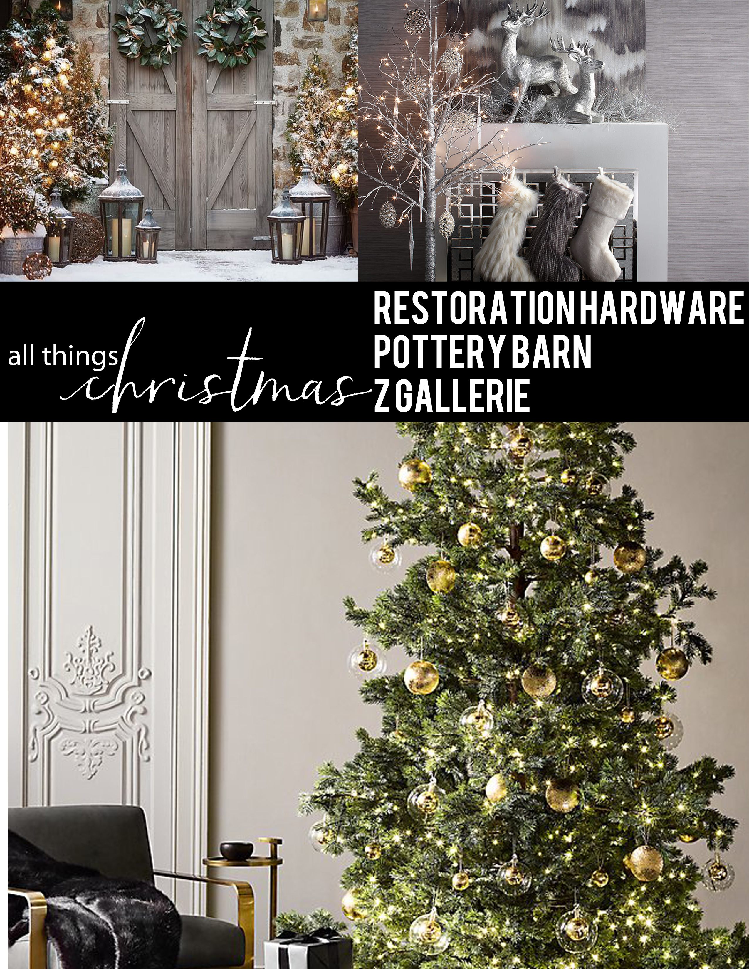 christmas decor tree mantle stockings wreath ornaments restoration hardware