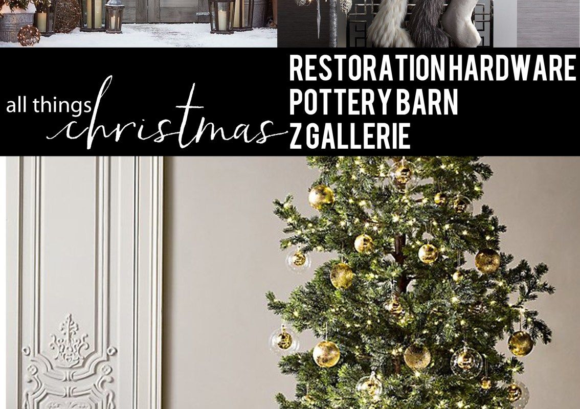 christmas, decor, tree, mantle, stockings, wreath, ornaments, restoration hardware, pottery barn, z gallerie, holiday
