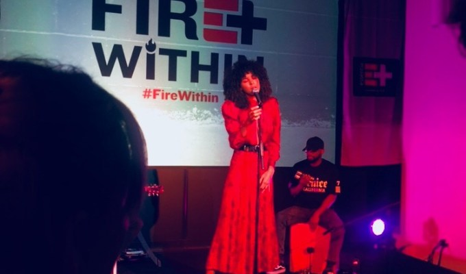 Arlissa performing on the #Fire Within stage.