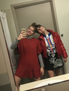 Mirror pic of Fiona and Grace in day 2 swapped outfits