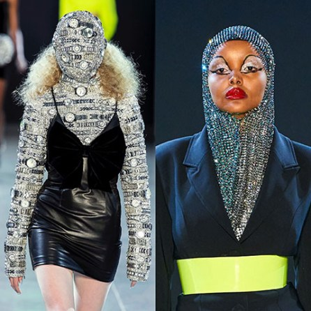 From Christian Cowan's runway- one model has her face and arms covered in watches. Model Halina Aden wore a rhinestone hijab.