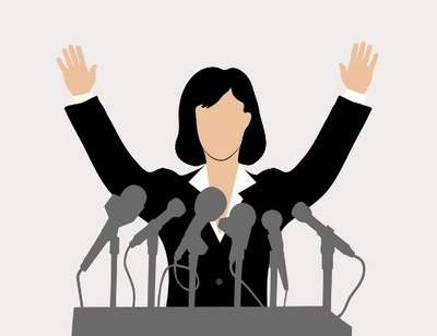 Drawing of a faceless woman at a podium with hands raised