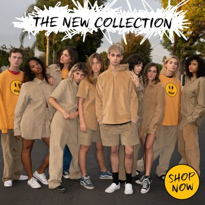 Justin Bieber Drew House Campaign Photo, featuring young kids wearing all beige and yellow clothing