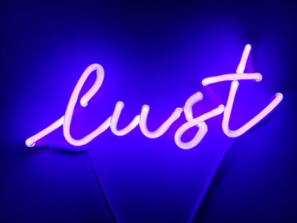 """lust"" Artwork by Indira Cesarine, featured in ""Indira Cesarine x Neon"" Solo Exhibition at Le Board, NY February 14 - April 13, 2019"