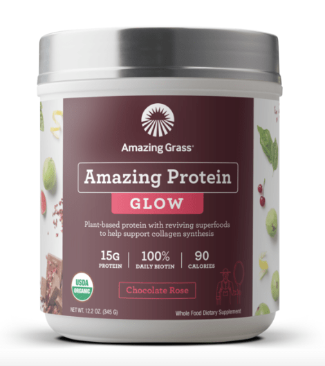 The Amazing Protein Glow Chocolate Rose is made from a plant-based solution to collagen and has 15g protein, plant-derived B Complex and C vitamins plus 100% DV biotin