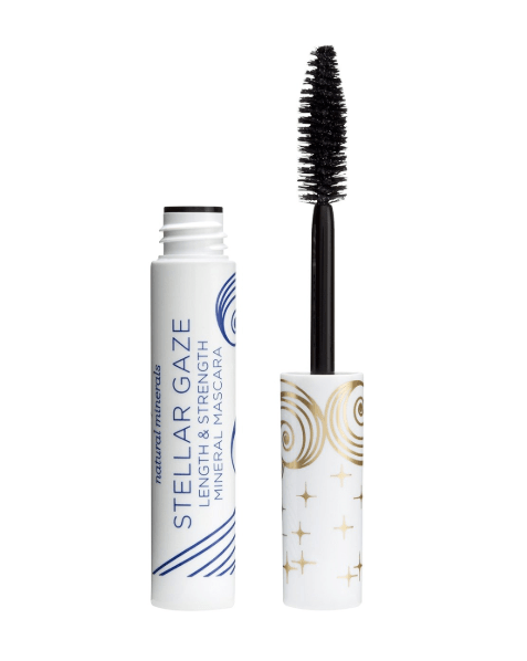 Pacifica's Stellar Gaze Length and Strength Mineral Mascara in the color Supernova (black). Comes in white packaging with blue font and gold detailing