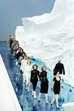 Chanel show featuring a giant glacier from Scandinavia