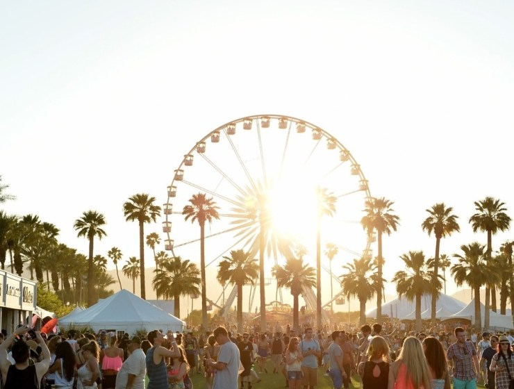 Image of palm trees, ferris wheel, people, at coachella