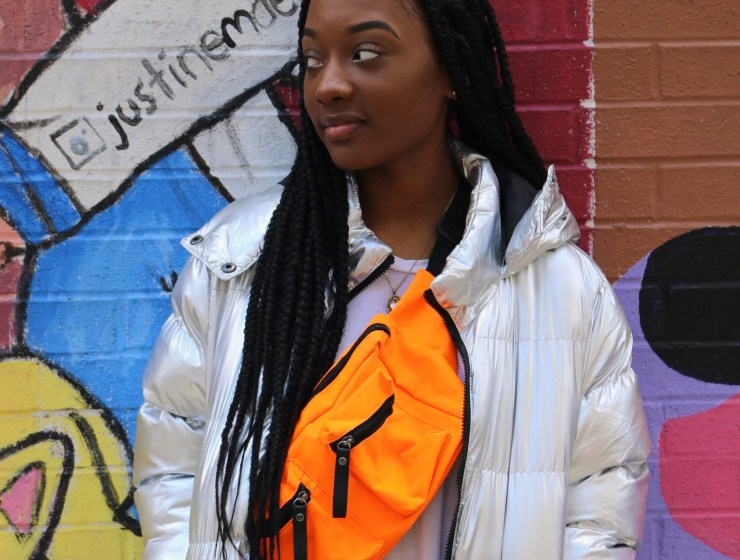 Photo of FIT student Johana Supreme showcasing her personal street style.