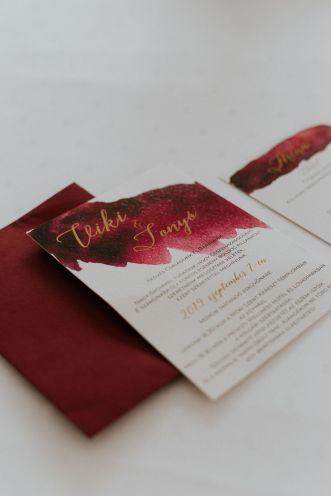 burgundy meghívó, esküvői meghívó