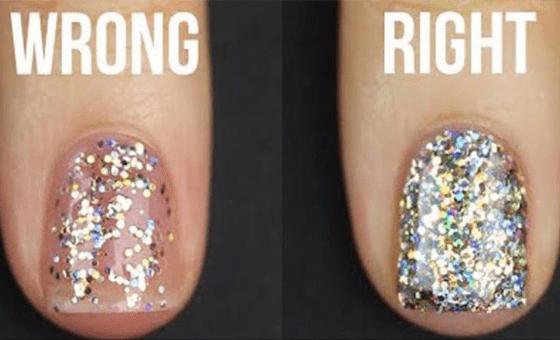 Apply Glitter Nail Polish Perfectly