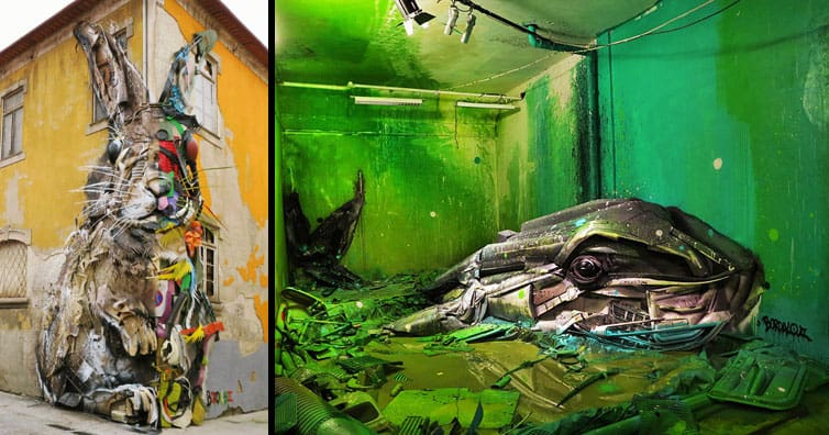 See How An Artist Turns Trash Into Animals So That It Depicts The Level Of Pollution.