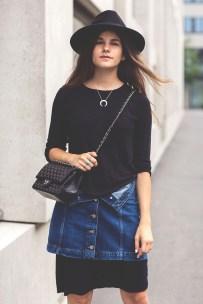 The-Fashion-Fraction-Denim-Skirt-Over-Dress-Outfit-Inspiration-Striped-Pumps-Chanel-Bag-8