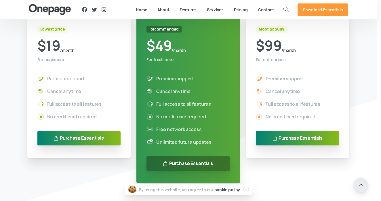 ONE PAGE - PRICING SECTION
