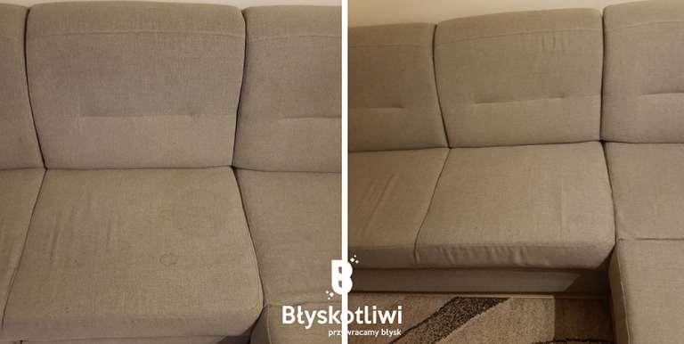 pranie tapicerki kanapa przed i po