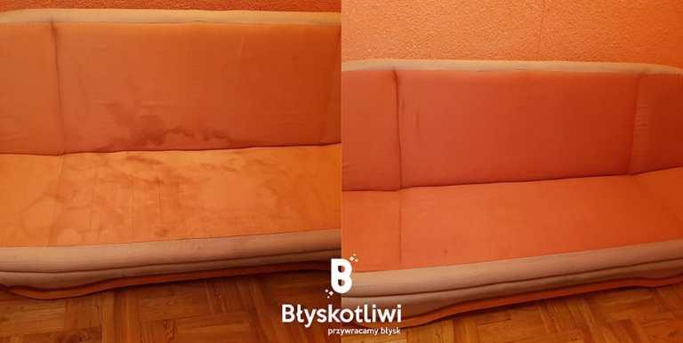 pranie tapicerki sofa przed i po