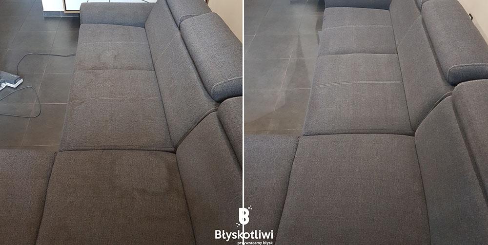 pranie tapicerki narożnik przed i po